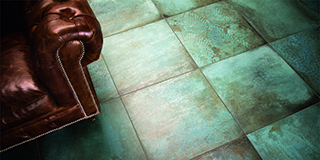 Porcelain Stoneware with Effect of Nickel Oxide, Copper Patina, Metal Corrosion