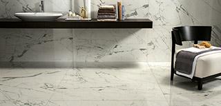 Carrelage imitation marbre blanc. Nouveautés de la saison
