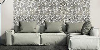 Klassisches Textilmuster Paisley auf dem Feinsteinzeug