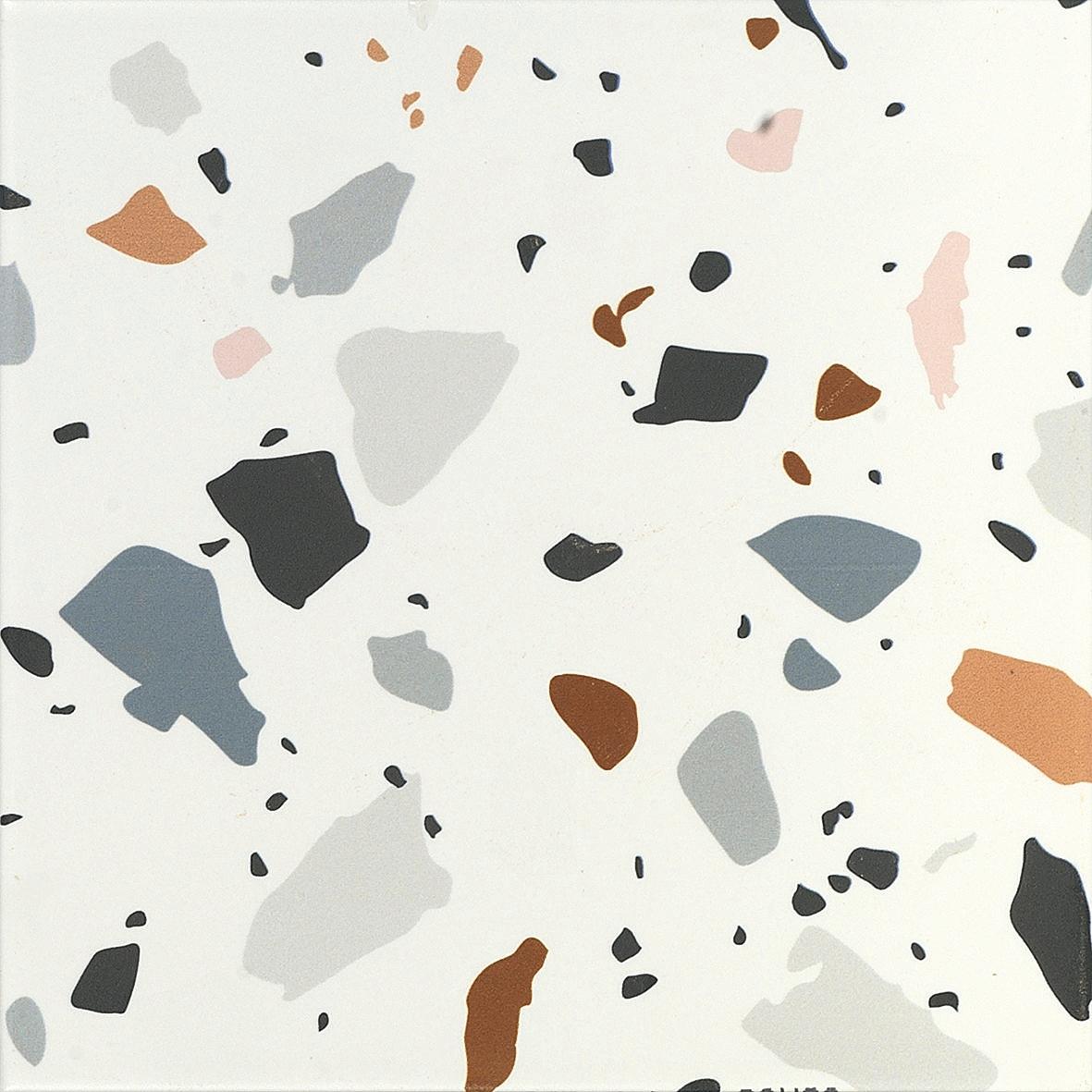 Background tile Trendy by Ape, Glazed porcelain stoneware, 20x20 cm, Surface Finish matte, Effect stone,terrazzo, Color multicolor,