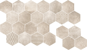 Cerdisa Reden 52512_RedenMosaicoEsagoneIvory , Patchwork style style, Concrete effect effect, Bedroom, Outdoors, Public spaces, Bathroom, Living room, Unglazed porcelain stoneware, wall & floor, Slip-resistance R10, R11, Polished surface, Matte surface, Rectified edge, Shade variation V3