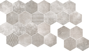 Cerdisa Reden 52562_RedenMosaicoEsagoneGrey , Patchwork style style, Concrete effect effect, Bedroom, Outdoors, Public spaces, Bathroom, Living room, Unglazed porcelain stoneware, wall & floor, Slip-resistance R10, R11, Polished surface, Matte surface, Rectified edge, Shade variation V3