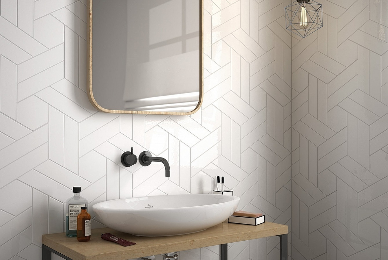 Chevron Wall Ceramic Tiles By Equipe Tile Expert