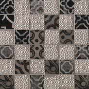 FAP Ceramiche Creta fK63_CretaMaiolicaGreyMosaico , Kitchen, Living room, Bathroom, 3D effect effect, Brick effect effect, Patchwork style style, Ceramic Tile, wall, Matte surface, Rectified edge, Shade variation V2