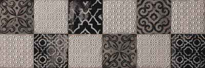 FAP Ceramiche Creta fK67_CretaMaiolicaGreyInserto , Kitchen, Living room, Bathroom, 3D effect effect, Brick effect effect, Patchwork style style, Ceramic Tile, wall, Matte surface, Rectified edge, Shade variation V2
