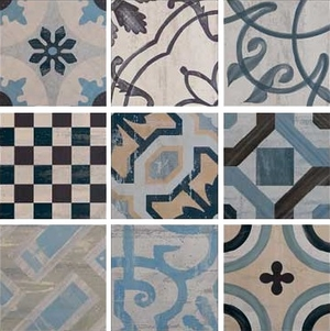 Ceramica Fioranese Cementine 20 IND20R_Colors , Kitchen, Bathroom, Designer style style, Patchwork style style, Silvia Stanzani, Faux encaustic tile effect, PEI IV, Glazed porcelain stoneware, wall & floor, Matte surface, Rectified edge, Shade variation V2, V4