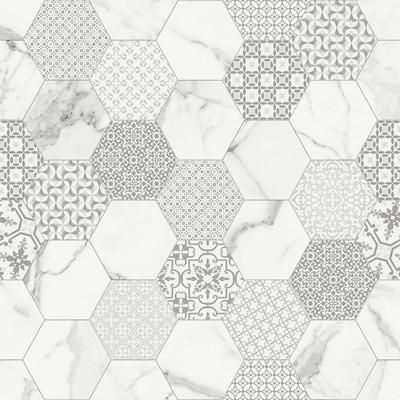 Ceramica Fondovalle Infinito 2.0 INF012_Infinito2.0MarbletechWhiteHexagonMatte_120* , Séjour, Salle de bain, Cuisine, Espace public, Chambre à coucher, Effet effet pierre, style Style patchwork, style Style moderne, Grès cérame non-émaillé, revêtement mur et sol, Surface mate, Surface polie, Résistance au glissement R10, Bord rectifié, Grès cérame de faible épaisseur, Variation de nuances V2
