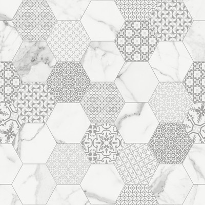 Ceramica Fondovalle Infinito 2.0 INF211_Infinito2.0MarbletechWhiteHexagonGlossy_120 , Séjour, Salle de bain, Cuisine, Espace public, Chambre à coucher, Effet effet pierre, style Style patchwork, style Style moderne, Grès cérame non-émaillé, revêtement mur et sol, Surface mate, Surface polie, Résistance au glissement R10, Bord rectifié, Grès cérame de faible épaisseur, Variation de nuances V2
