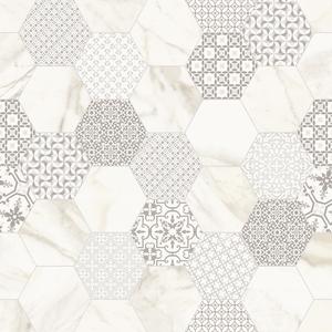 Ceramica Fondovalle Infinito 2.0 INF235_Infinito2.0MarbletechCalacattaHexagonMatte_ , Séjour, Salle de bain, Cuisine, Espace public, Chambre à coucher, Effet effet pierre, style Style patchwork, style Style moderne, Grès cérame non-émaillé, revêtement mur et sol, Surface mate, Surface polie, Résistance au glissement R10, Bord rectifié, Grès cérame de faible épaisseur, Variation de nuances V2