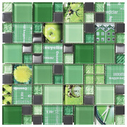 Intermatex Carnaval Mosaic Carnaval Green_30*30 , Bathroom, Kitchen, wall, Glossy surface, non-rectified edge