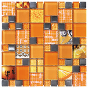 Intermatex Carnaval Mosaic Carnaval Orange_30*30 , Bathroom, Kitchen, wall, Glossy surface, non-rectified edge