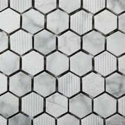 Linea Italia Le Acque Forti STAFCA/HEX23_EngravedStoneInBiancoCarrara_23*10Mm , Salle de bain, Pierre naturelle, revêtement mural, Surface mate, bord non rectifié