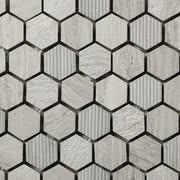 Linea Italia Le Acque Forti STAFWH/HEX23_EngravedStoneInWoodenWhite_23*10Mm , Salle de bain, Pierre naturelle, revêtement mural, Surface mate, bord non rectifié