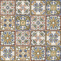 Mainzu Ceramica Calabria CALABRIA DECOR VIETRI 15x15 , Living room, Kitchen, Patchwork style style, Handmade style style, Ceramic Tile, wall, Glossy surface, non-rectified edge