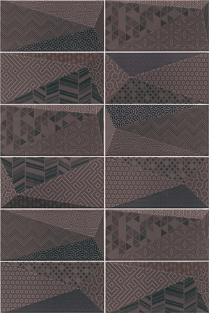 Mainzu Ceramica Diamond DIAMOND FANCY GRAPHITE 10x20 , 3D effect effect, Unicolor, Patchwork style style, Ceramic Tile, wall, Glossy surface, Non-rectified edge