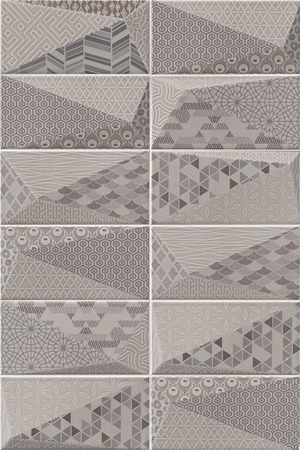 Mainzu Ceramica Diamond DIAMOND FANCY PEARL 10x20 , 3D effect effect, Unicolor, Patchwork style style, Ceramic Tile, wall, Glossy surface, Non-rectified edge
