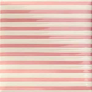 Mainzu Ceramica Lucciola Decor Stripe Pink 20x20 , Patchwork style style, Kitchen, Public spaces, Bathroom, Ceramic Tile, wall, Glossy surface, non-rectified edge