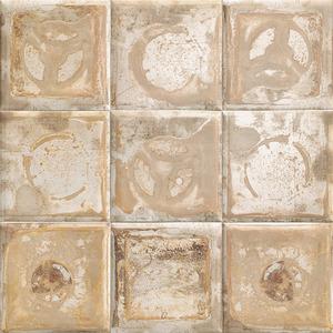 Mainzu Ceramica Tin Tile METALLO CREAM 20x20 , Kitchen, Bathroom, Public spaces, Patchwork style style, aged effect effect, Metal effect effect, Ceramic Tile, wall, Glossy surface, Non-rectified edge