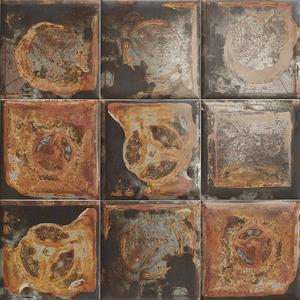 Mainzu Ceramica Tin Tile METALLO NERO 20x20 , Kitchen, Bathroom, Public spaces, Patchwork style style, aged effect effect, Metal effect effect, Ceramic Tile, wall, Glossy surface, Non-rectified edge