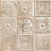 Mainzu Ceramica Tin Tile RUSTY CREAM 20x20 , Kitchen, Bathroom, Public spaces, Patchwork style style, aged effect effect, Metal effect effect, Ceramic Tile, wall, Glossy surface, Non-rectified edge