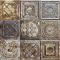 Mainzu Ceramica Tin Tile RUSTY MIX 20x20 , Kitchen, Bathroom, Public spaces, Patchwork style style, aged effect effect, Metal effect effect, Ceramic Tile, wall, Glossy surface, Non-rectified edge