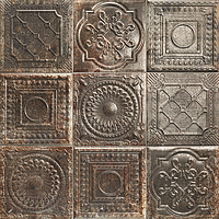 Mainzu Ceramica Tin Tile RUSTY NERO 20x20 , Kitchen, Bathroom, Public spaces, Patchwork style style, aged effect effect, Metal effect effect, Ceramic Tile, wall, Glossy surface, Non-rectified edge