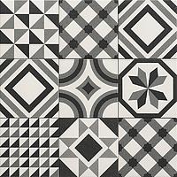 Tile TRINITY BLACK,faux encaustic tiles Effect,patchwork Style