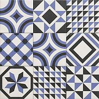 Tile TRINITY BLU,faux encaustic tiles Effect,patchwork Style