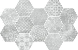 Mo.da Ceramica Over OVER ESAGONO INSERTO SILVER 21x18,2 , Chambre à coucher, style Style patchwork, Effet effet béton, Grès cérame non-émaillé, revêtement mur et sol, Surface mate, Bord rectifié