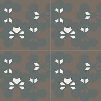 Mutina Ceramiche & Design Azulej PUA48_AzulejFloresNero20X20 , Kitchen, Living room, Public spaces, Bathroom, Patchwork style style, Designer style style, Patricia Urquiola, Faux encaustic tile effect, Concrete effect effect, Glazed porcelain stoneware, wall & floor, Matte surface, Rectified edge, Shade variation V2