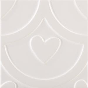 Pamesa Agatha 27.589.12.5016_AGATHA Coeur Blanco 25x25 , Salle de bain, Séjour, style Style designer, style Espaces enfants, Agatha Ruiz de la Prada, Effet imitation carreaux de ciment, Unicolore, Céramique, revêtement mur et sol, Surface brillante, Surface mate, Bord non rectifié, Variation de nuances V1, V3