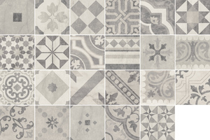Tuscania Ceramiche Eternity Eternity Mix 20*20 , Kitchen, Patchwork style style, Faux encaustic tile effect, Concrete effect effect, Ceramic Tile, Glazed porcelain stoneware, wall & floor, Matte surface, non-rectified edge