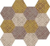 Unica by Target Studio Etro EtroHexagonMosaicMix01 , Metal effect effect, Spaces for children, Bathroom, Living room, Bedroom, Kitchen, Patchwork style style, PEI III, PEI IV, Glazed porcelain stoneware, wall & floor, Matte surface, Rectified edge