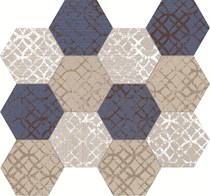 Unica by Target Studio Etro EtroHexagonMosaicMix02 , Metal effect effect, Spaces for children, Bathroom, Living room, Bedroom, Kitchen, Patchwork style style, PEI III, PEI IV, Glazed porcelain stoneware, wall & floor, Matte surface, Rectified edge