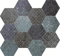 Unica by Target Studio Etro EtroHexagonMosaicMix03 , Metal effect effect, Spaces for children, Bathroom, Living room, Bedroom, Kitchen, Patchwork style style, PEI III, PEI IV, Glazed porcelain stoneware, wall & floor, Matte surface, Rectified edge