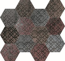 Unica by Target Studio Etro EtroHexagonMosaicMix04 , Metal effect effect, Spaces for children, Bathroom, Living room, Bedroom, Kitchen, Patchwork style style, PEI III, PEI IV, Glazed porcelain stoneware, wall & floor, Matte surface, Rectified edge