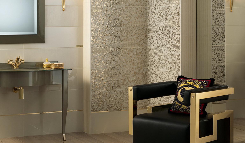 Piastrelle in ceramica e gres porcellanato gold di versace tile