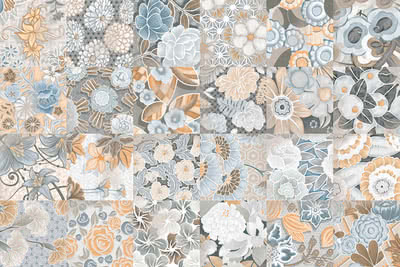 Vives Azulejos y Gres Vodevil Flore Gris , Victorian style style, Patchwork style style, Kitchen, Living room, Glazed porcelain stoneware, Ceramic Tile, wall & floor, Matte surface, non-rectified edge, Unicolor