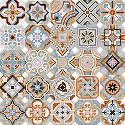 Vives Azulejos y Gres Vodevil Octogono Musichalls Multicolor_G156 , Victorian style style, Patchwork style style, Kitchen, Living room, Glazed porcelain stoneware, Ceramic Tile, wall & floor, Matte surface, non-rectified edge, Unicolor